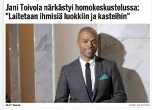 Jani Toivola närkästyneenä.
