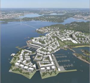 Valkoisista laatikoista muodostunut korkeatasoinen merellinen asuinalue.